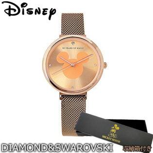 【ピンクゴールド】ダイヤモンド スワロフスキー使用【マグネット式 ミッキー生誕90周年 腕時計】