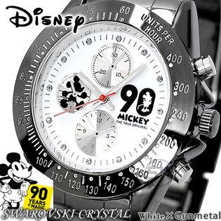 【ホワイト×ガンメタ】シリアルナンバー入り【ミッキー生誕90周年記念スワロフスキー腕時計】