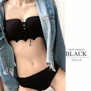 【ブラックS】チューブトップノンワイヤーブラジャーショーツセット