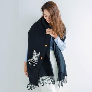 ポケット付リアル猫刺繍 ポンチョストール 210cm×60cm ブラック