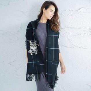 ポケット付リアル猫刺繍 チェック柄 ポンチョストール 210cm×60cm ブラック