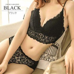 【ブラック75C】ノンワイヤーカップ付きビスチェブラ&ショーツセット