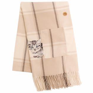 ポケット付 マンチカン 猫刺繍 ポンチョ ストール 210cm×60cm チェック グレージュ