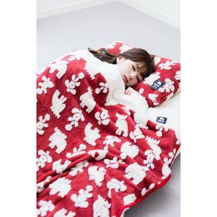 【レッド】moz ジャガードボア2枚合わせ毛布