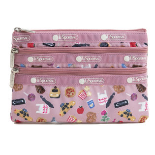 [LeSportsac]ポーチ 3-ZIP COSMETIC ピンク系