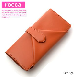 【オレンジ】rocca 長財布 レディース 牛革 大容量 ガバッと大きく開く小銭入れ