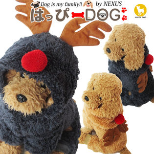 【ブラック/M】犬 服 犬服 犬の服 つなぎ フリース トナカイ クリスマス