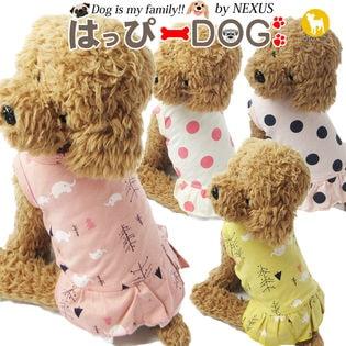 【ドット柄ホワイト/L】犬 服 犬服 犬の服 タンクトップ ワンピース