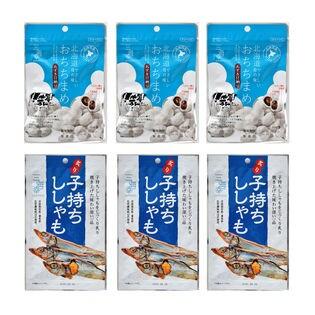 【2種各3袋】あずきおちち&子持ちししゃもの組み合わせ♪ お菓子とおつまみセット!
