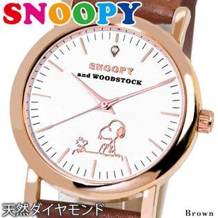 【ブラウンB】シチズン系ムーブ 天然ダイヤ シリアルNO入り【本革ベルト スヌーピー腕時計】