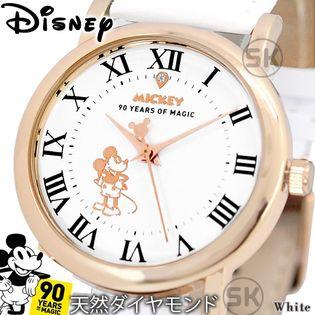 シチズンムーブメント 天然ダイヤモンド【ユニセックス ミッキー 生誕90周年 腕時計】【ホワイトB】