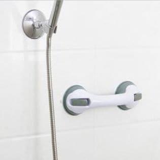 【ブラック】簡単設置でしっかり固定!浴室転倒防止どこでも手すり<2個セット>