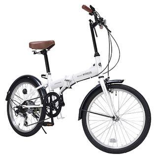 【ホワイト】MYPALLAS(マイパラス)/折畳自転車20インチ・6段変速ギア付
