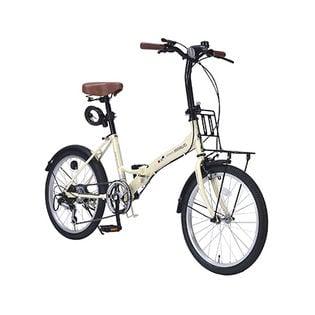 【アイボリー】MYPALLAS(マイパラス)/折畳自転車20インチ・6段変速ギア付/ライト・カギ付き
