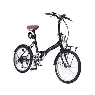 【ブラック】MYPALLAS(マイパラス)/折畳自転車20インチ・6段変速ギア付/ライト・カギ付き