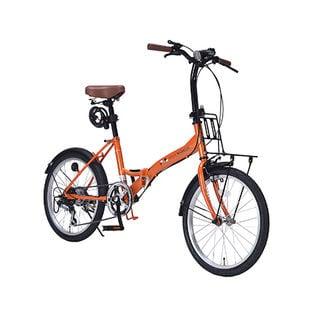 【オレンジ】MYPALLAS(マイパラス)/折畳自転車20インチ・6段変速ギア付/ライト・カギ付き