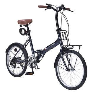 【インディゴ】MYPALLAS(マイパラス)/折畳自転車20インチ・6段変速ギア付/ライト・カギ付き