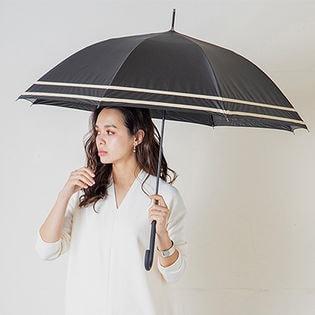 完全遮光 晴雨兼用 ジャンプ傘 makez. マケズ 60cm 2本ライン【11】ブラック