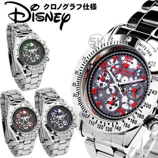 【クロノグラフ機能搭載】ディズニー ミッキー 腕時計 50M防水 ジャパンムーブメント レッド