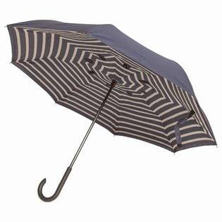 【ストライプ×ネイビー】逆さに開く2重傘