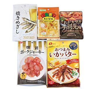 プレミアムおつまみシリーズA(いかバター、ポークジャーキー、焼きめざし、これが大豆!?)+サービス品