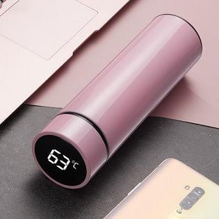 【ピンク】水温度がわかりやすいスマート温度表示付き!「保冷・保温ボトル(500ml)」