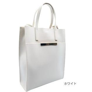 【ホワイト】縦型トートショルダーバッグ