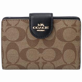 【COACH (OUTLET)】二つ折り財布/【IM/KHAKI/BLACK】