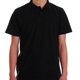 【メンズL】鹿の子無地ポロシャツ ブラック