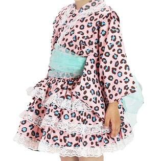 【Aヒョウピンク-110】キッズ浴衣ドレス シフォン帯付3点セット