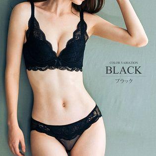 【ブラック85AB】レースノンワイヤーブラジャー&ショーツセット