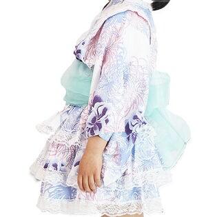 【D乱菊-ブルー-100】キッズ浴衣ドレス シフォン帯付3点セット