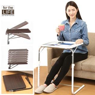 【ホワイト】角度調節折りたたみサイドテーブル