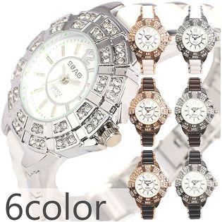 ラインストーン装飾ベゼルにセラミック風コンビベルト AV022 レディース腕時計