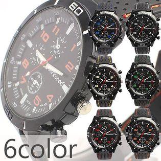 アクセントカラー ラバーベルトミリタリーメンズウォッチ フェイクダイアル AV028 メンズ腕時計
