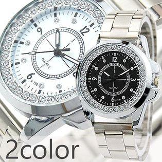 定番デザインにラインストーン シルバーメタルバンドのメンズウォッチ  AV030 メンズ腕時計