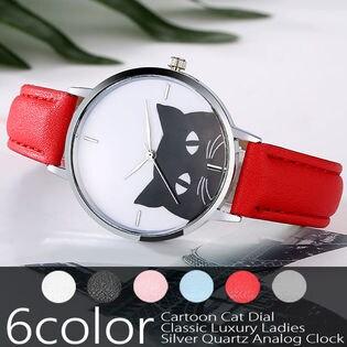 黒猫のモノトーン文字盤 SPST017 レディース腕時計