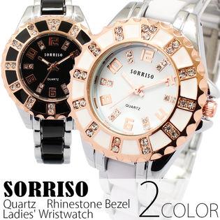 正規品SORRISOソリッソ ピンクゴールド装飾ラインストーン SRHI12 レディース腕時計