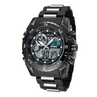 アナデジ HPFS615-BKBK アナログ&デジタル 防水 ダイバーズウォッチ風メンズ腕時計