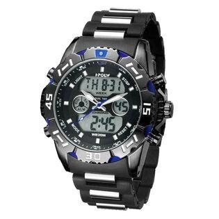 アナデジ HPFS1510-BKBL アナログ&デジタル 防水 ダイバーズウォッチ風メンズ腕時計