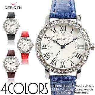 【REBIRTH リバース】 日常生活防水 ラインストーン シルバー RB018 レディース腕時計