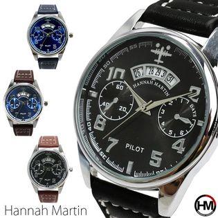 カレンダー付 フェイクダイヤル 飛行機 HM001 Hannah Martin メンズ腕時計