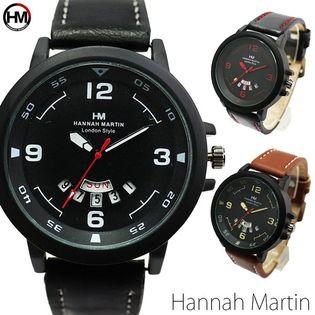 曜日カレンダー付 ブラックケース HM002 Hannah Martin メンズ腕時計